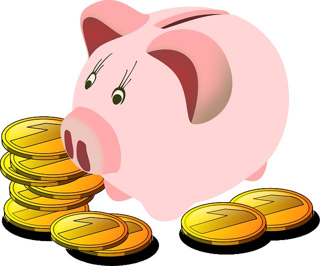 ilustrace pokladničky prasátka obklopené mincemi